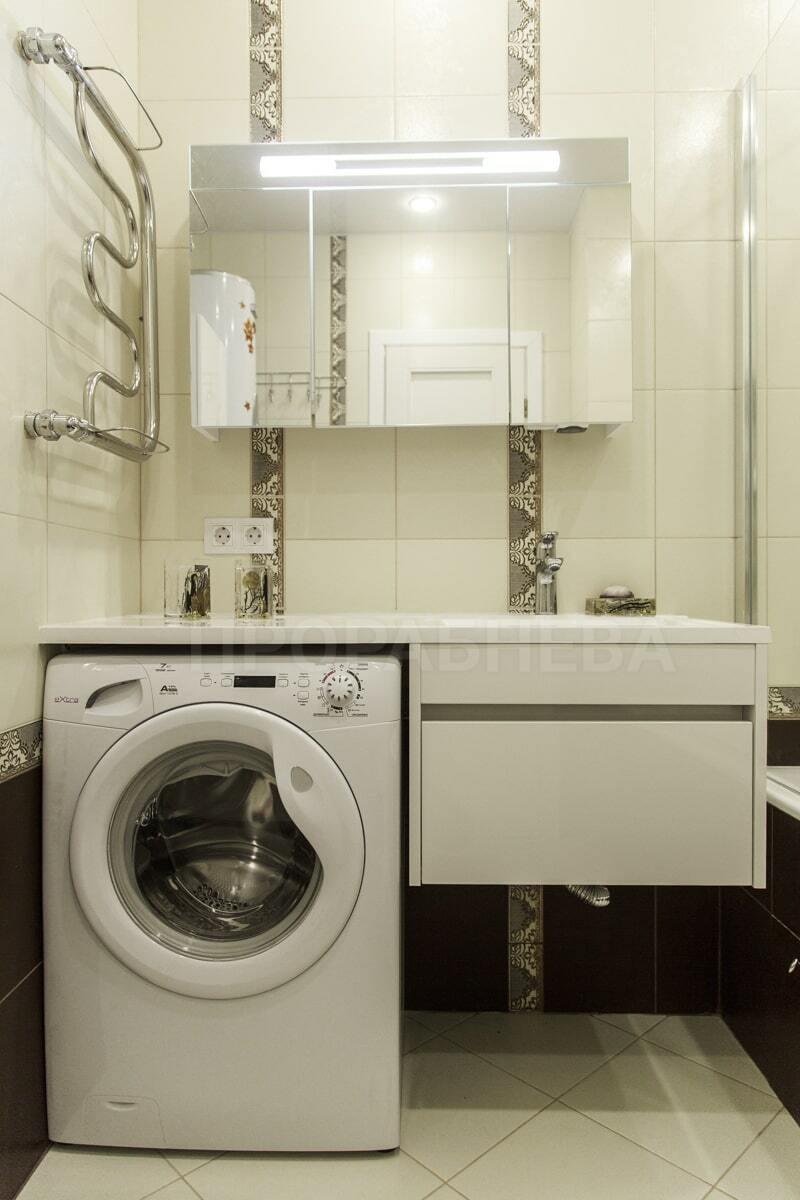 Установка стиральной машины в маленькой ванной комнате - часть 1
