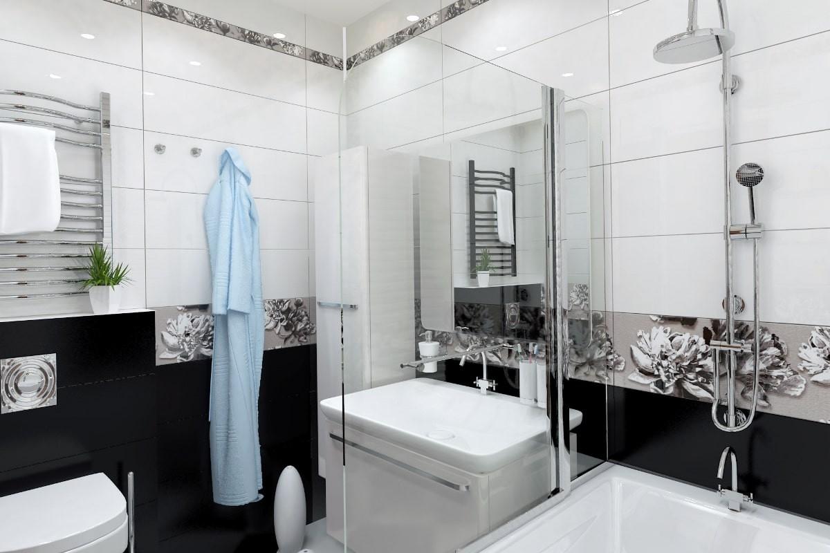 Расположение полотенцесушителя в маленькой ванной комнате